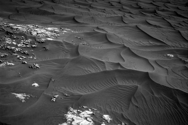 Curiosity parked by a beautiful dune field_photo by @MarsCuriosity