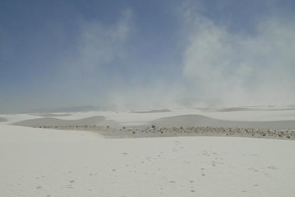 Sediment transport during a wind event over dunes in the White Sand National Monument_photo by Anjali Fernandes