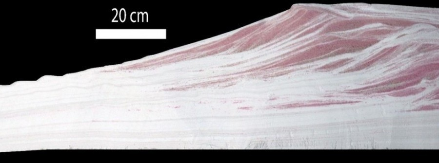 Dip stratigraphy through an experimental shelf edge delta_Photo by Anjali M. Fernandes